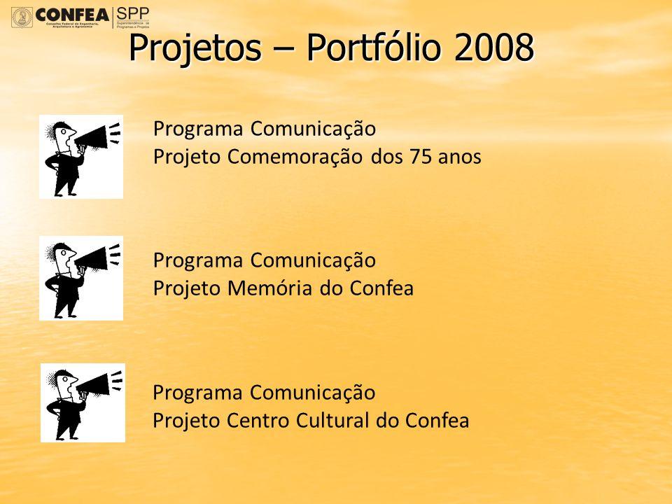 Projetos – Portfólio 2008 Programa Comunicação Projeto Comemoração dos 75 anos Programa Comunicação Projeto Memória do Confea Programa Comunicação Pro