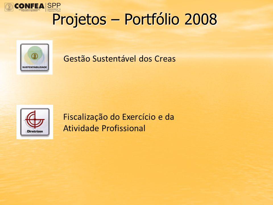 Projetos – Portfólio 2008 Gestão Sustentável dos Creas Fiscalização do Exercício e da Atividade Profissional