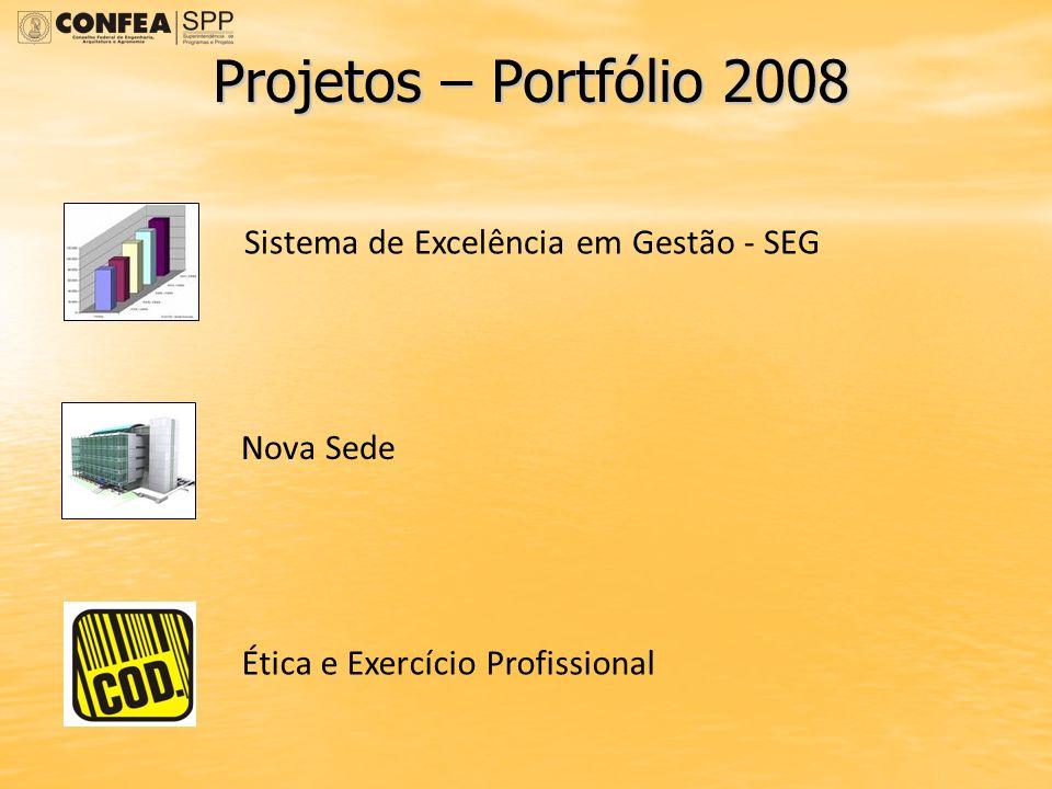 Projetos – Portfólio 2008 Sistema de Excelência em Gestão - SEG Nova Sede Ética e Exercício Profissional