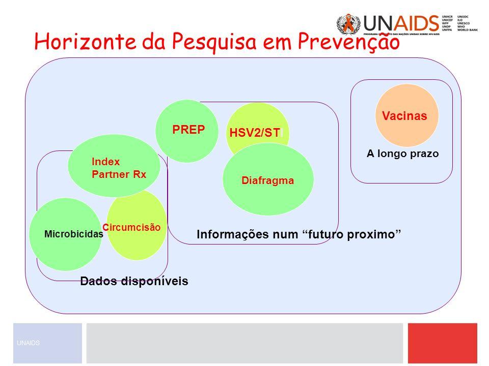 A longo prazo Vacinas Circumcisão HSV2/STI Dados disponíveis Microbicidas Diafragma PREP Index Partner Rx Informações num futuro proximo Horizonte da