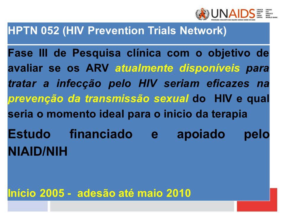 HPTN 052 (HIV Prevention Trials Network) Fase III de Pesquisa clínica com o objetivo de avaliar se os ARV atualmente disponíveis para tratar a infecçã
