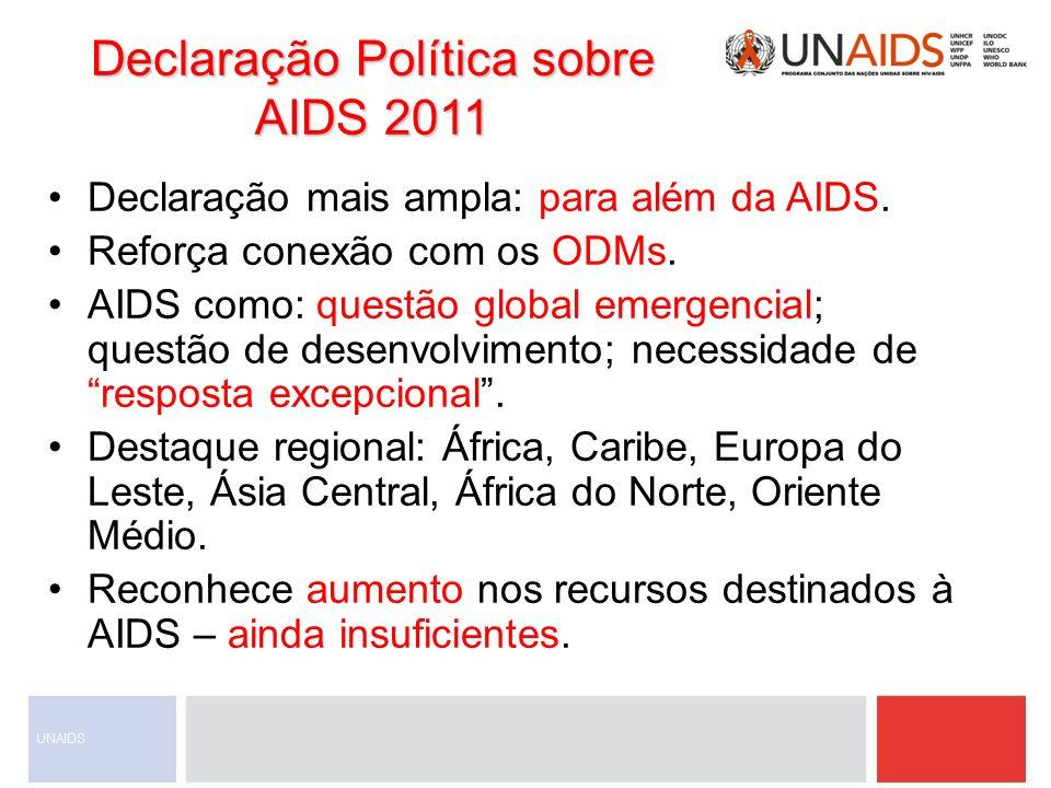 Declaração Política sobre AIDS 2011 Declaração mais ampla: para além da AIDS. Reforça conexão com os ODMs. AIDS como: questão global emergencial; ques