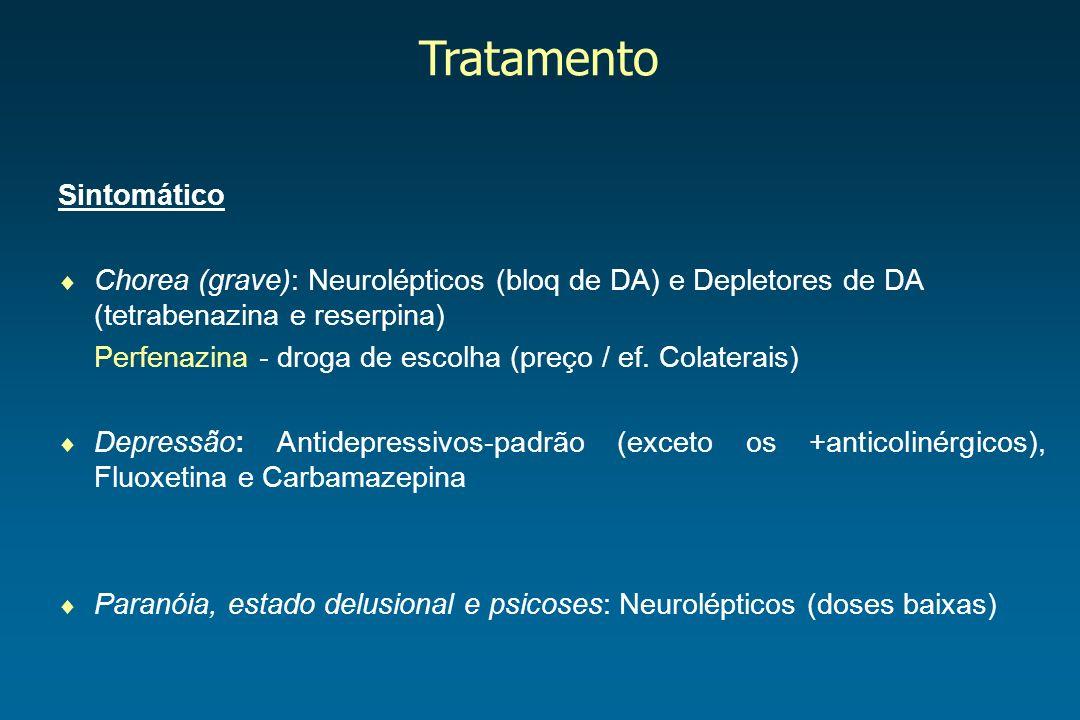 Tratamento Sintomático Chorea (grave): Neurolépticos (bloq de DA) e Depletores de DA (tetrabenazina e reserpina) Perfenazina - droga de escolha (preço