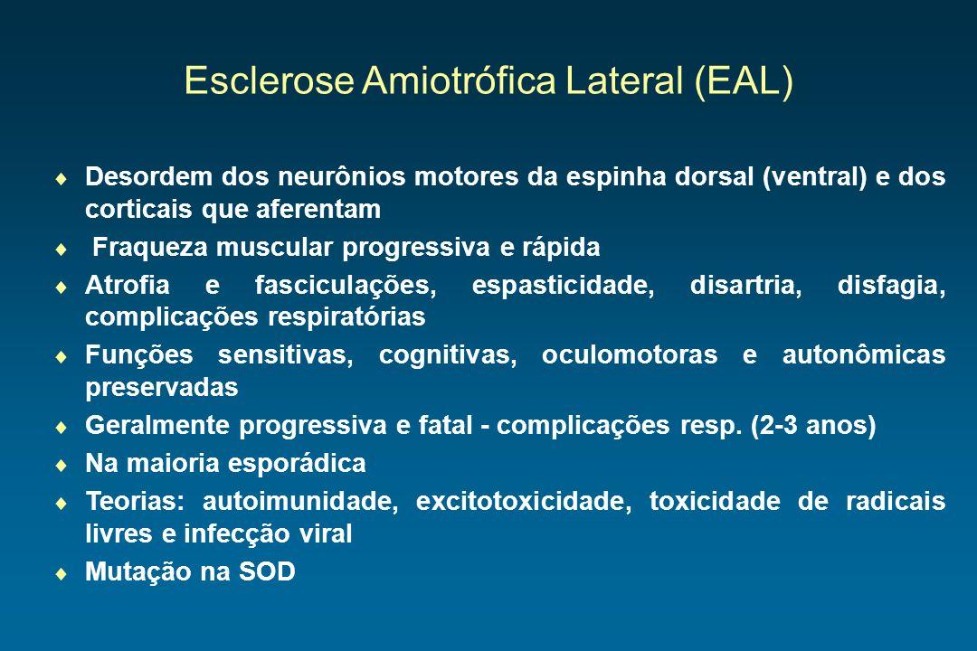 Esclerose Amiotrófica Lateral (EAL) Desordem dos neurônios motores da espinha dorsal (ventral) e dos corticais que aferentam Fraqueza muscular progres