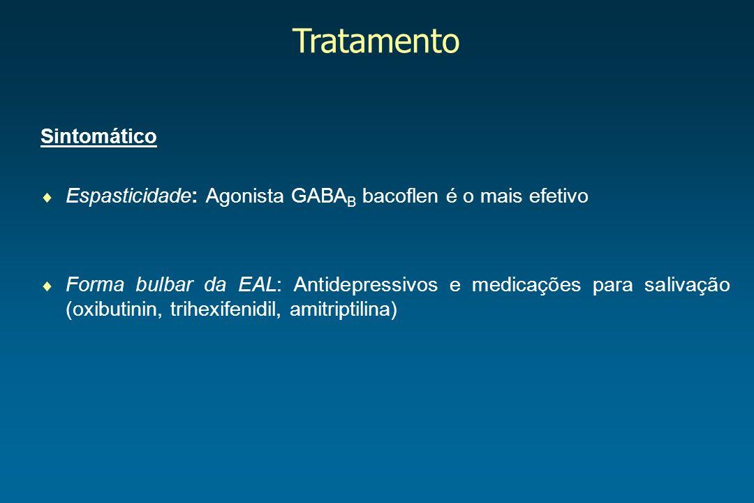 Tratamento Sintomático Espasticidade: Agonista GABA B bacoflen é o mais efetivo Forma bulbar da EAL: Antidepressivos e medicações para salivação (oxib