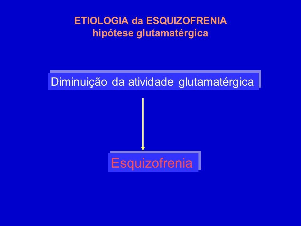 Diminuição da atividade glutamatérgica Esquizofrenia