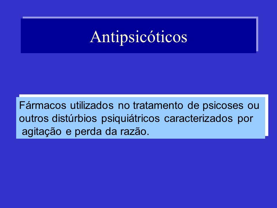 Antipsicóticos Fármacos utilizados no tratamento de psicoses ou outros distúrbios psiquiátricos caracterizados por agitação e perda da razão. Fármacos