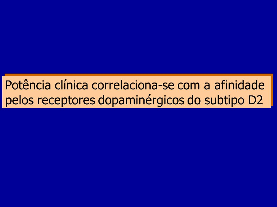 Potência clínica correlaciona-se com a afinidade pelos receptores dopaminérgicos do subtipo D2 Potência clínica correlaciona-se com a afinidade pelos receptores dopaminérgicos do subtipo D2