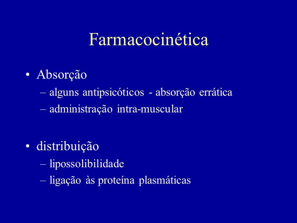 Farmacocinética Absorção –alguns antipsicóticos - absorção errática –administração intra-muscular distribuição –lipossolibilidade –ligação às proteína plasmáticas