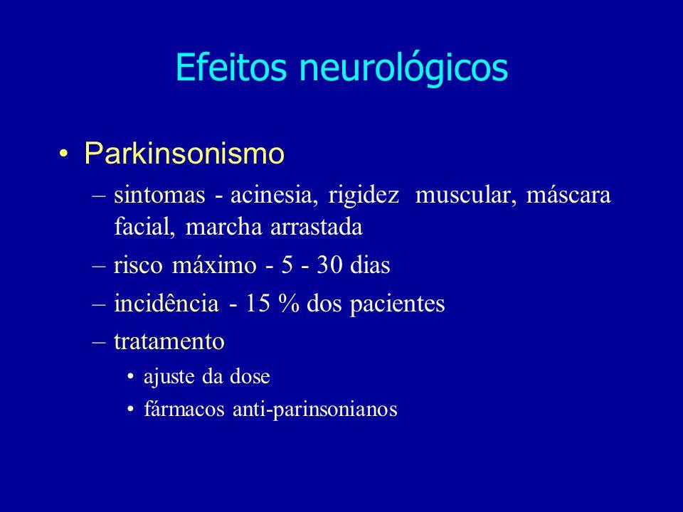 Parkinsonismo –sintomas - acinesia, rigidez muscular, máscara facial, marcha arrastada –risco máximo - 5 - 30 dias –incidência - 15 % dos pacientes –tratamento ajuste da dose fármacos anti-parinsonianos Efeitos neurológicos