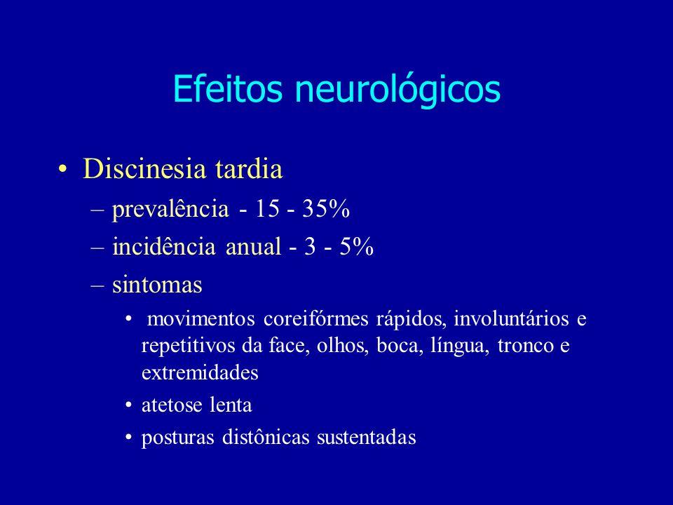 Discinesia tardia –prevalência - 15 - 35% –incidência anual - 3 - 5% –sintomas movimentos coreifórmes rápidos, involuntários e repetitivos da face, ol