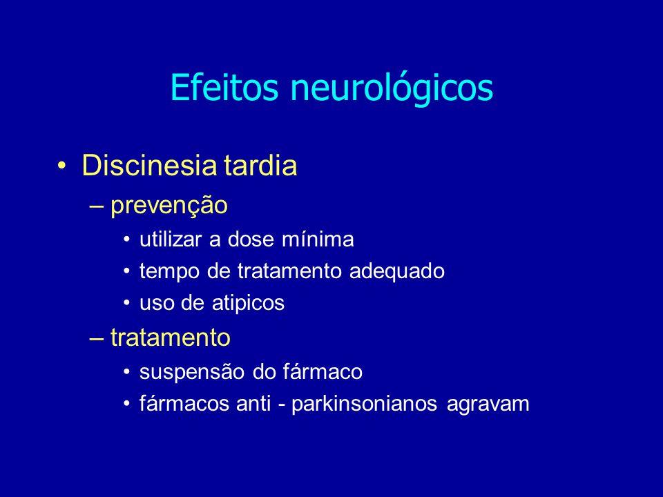 Discinesia tardia –prevenção utilizar a dose mínima tempo de tratamento adequado uso de atipicos –tratamento suspensão do fármaco fármacos anti - parkinsonianos agravam Efeitos neurológicos