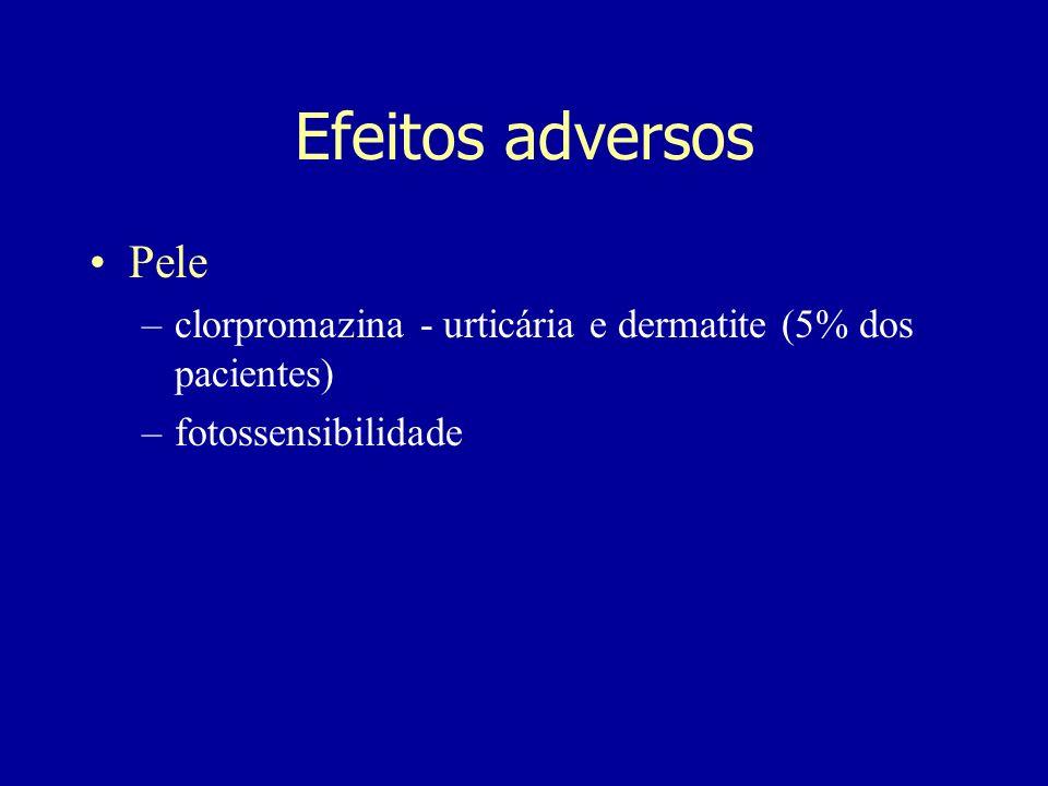 Pele –clorpromazina - urticária e dermatite (5% dos pacientes) –fotossensibilidade Efeitos adversos