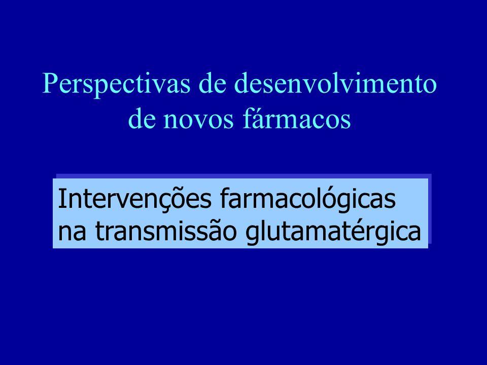 Perspectivas de desenvolvimento de novos fármacos Intervenções farmacológicas na transmissão glutamatérgica Intervenções farmacológicas na transmissão glutamatérgica