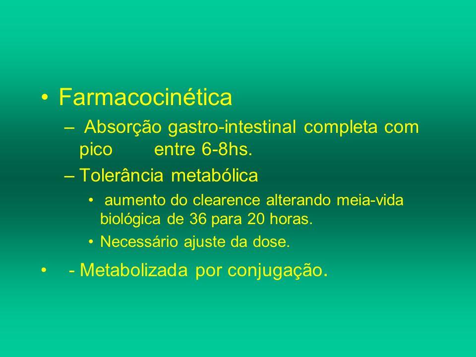 Farmacocinética – Absorção gastro-intestinal completa com pico entre 6-8hs. –Tolerância metabólica aumento do clearence alterando meia-vida biológica