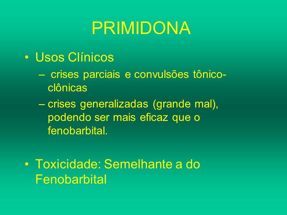 PRIMIDONA Usos Clínicos – crises parciais e convulsões tônico- clônicas –crises generalizadas (grande mal), podendo ser mais eficaz que o fenobarbital