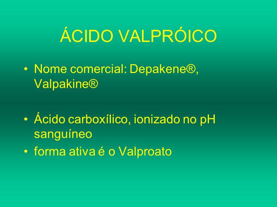 ÁCIDO VALPRÓICO Nome comercial: Depakene®, Valpakine® Ácido carboxílico, ionizado no pH sanguíneo forma ativa é o Valproato