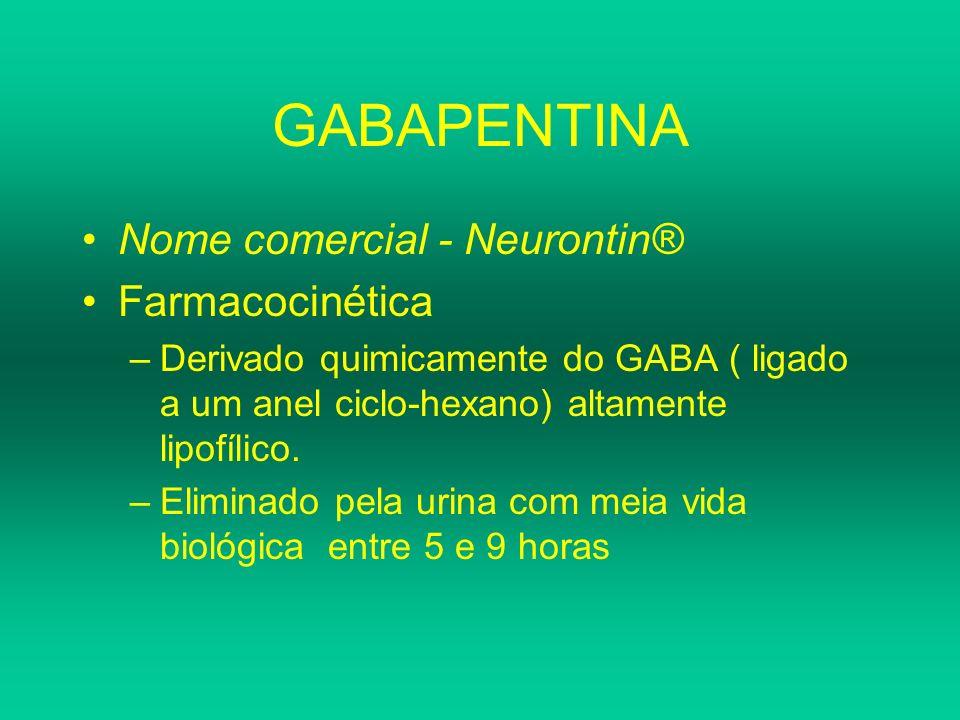 GABAPENTINA Nome comercial - Neurontin® Farmacocinética –Derivado quimicamente do GABA ( ligado a um anel ciclo-hexano) altamente lipofílico. –Elimina