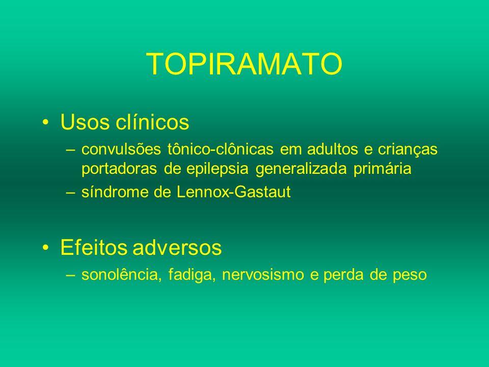 TOPIRAMATO Usos clínicos –convulsões tônico-clônicas em adultos e crianças portadoras de epilepsia generalizada primária –síndrome de Lennox-Gastaut E