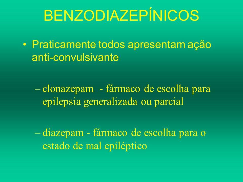 BENZODIAZEPÍNICOS Praticamente todos apresentam ação anti-convulsivante –clonazepam - fármaco de escolha para epilepsia generalizada ou parcial –diaze