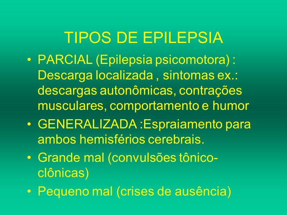 TIPOS DE EPILEPSIA PARCIAL (Epilepsia psicomotora) : Descarga localizada, sintomas ex.: descargas autonômicas, contrações musculares, comportamento e