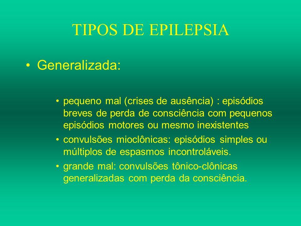 TIPOS DE EPILEPSIA Parcial (focal) –simples: sem prejuízo da consciência, sintomas podem ser motores, sensoriais ou cognitivos dependendo do local anatômico das descargas elétricas.