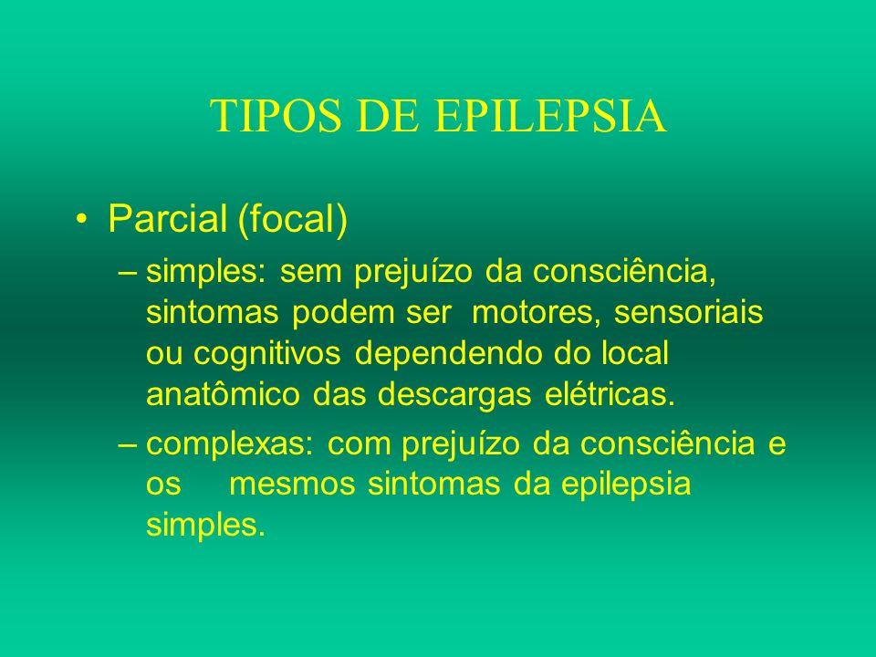 TIPOS DE EPILEPSIA Parcial (focal) –simples: sem prejuízo da consciência, sintomas podem ser motores, sensoriais ou cognitivos dependendo do local ana