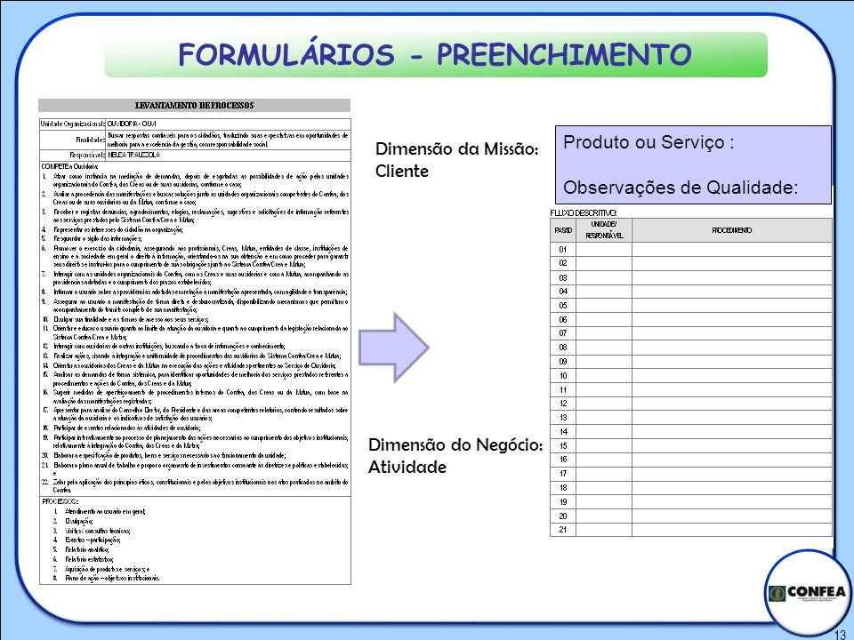 13 FORMULÁRIOS - PREENCHIMENTO Produto ou Serviço : Observações de Qualidade: Dimensão da Missão: Cliente Dimensão do Negócio: Atividade