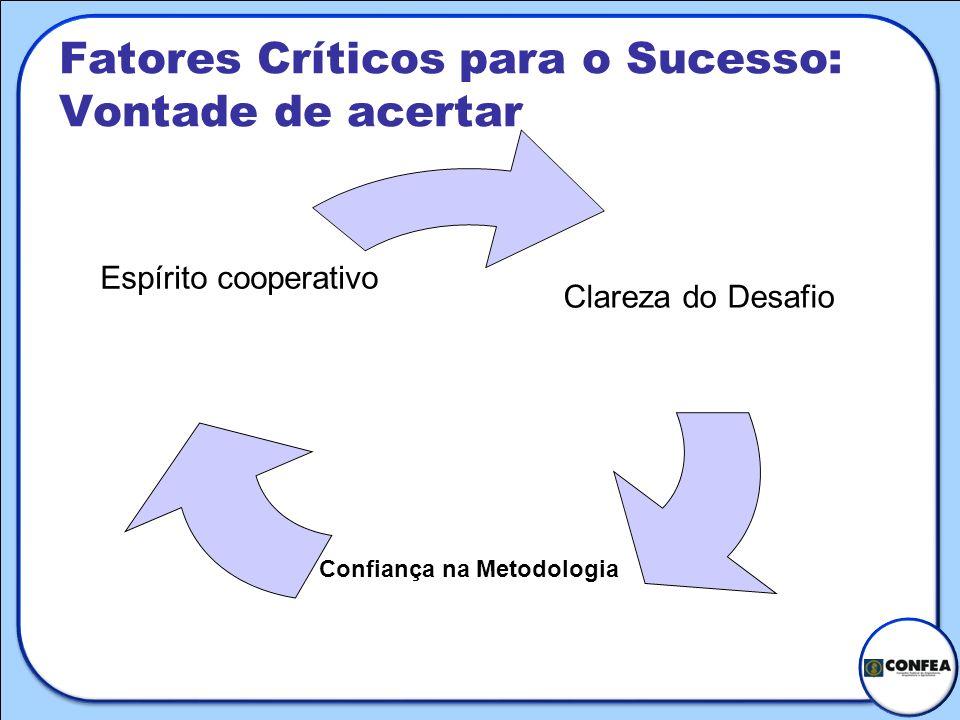 Fatores Críticos para o Sucesso: Vontade de acertar Clareza do Desafio Confiança na Metodologia Espírito cooperativo