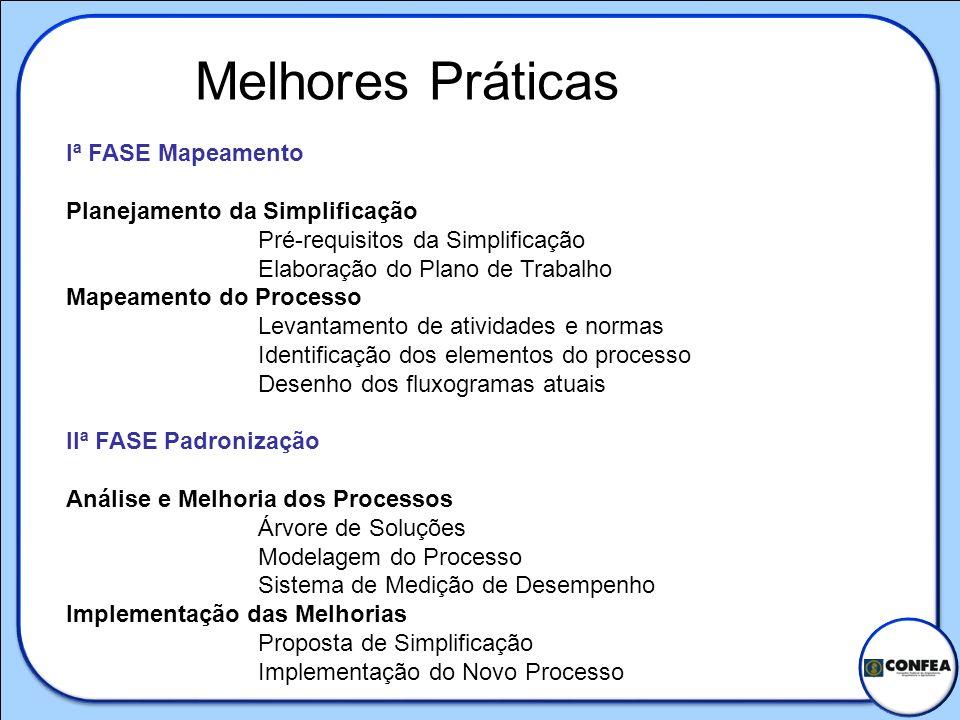 Iª FASE Mapeamento Planejamento da Simplificação Pré-requisitos da Simplificação Elaboração do Plano de Trabalho Mapeamento do Processo Levantamento d