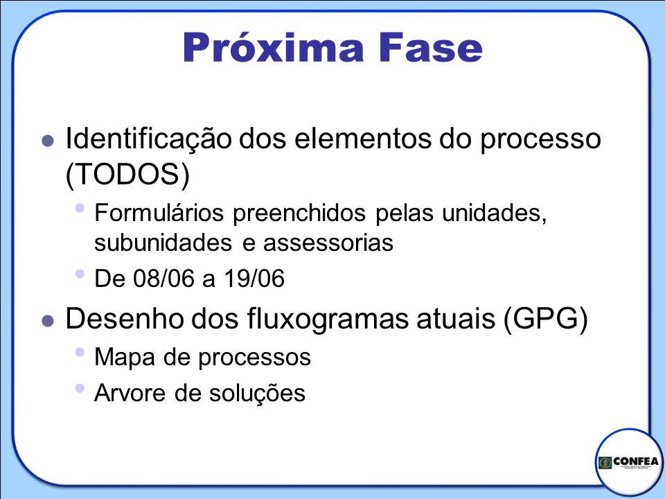 Próxima Fase Identificação dos elementos do processo (TODOS) Formulários preenchidos pelas unidades, subunidades e assessorias De 08/06 a 19/06 Desenh