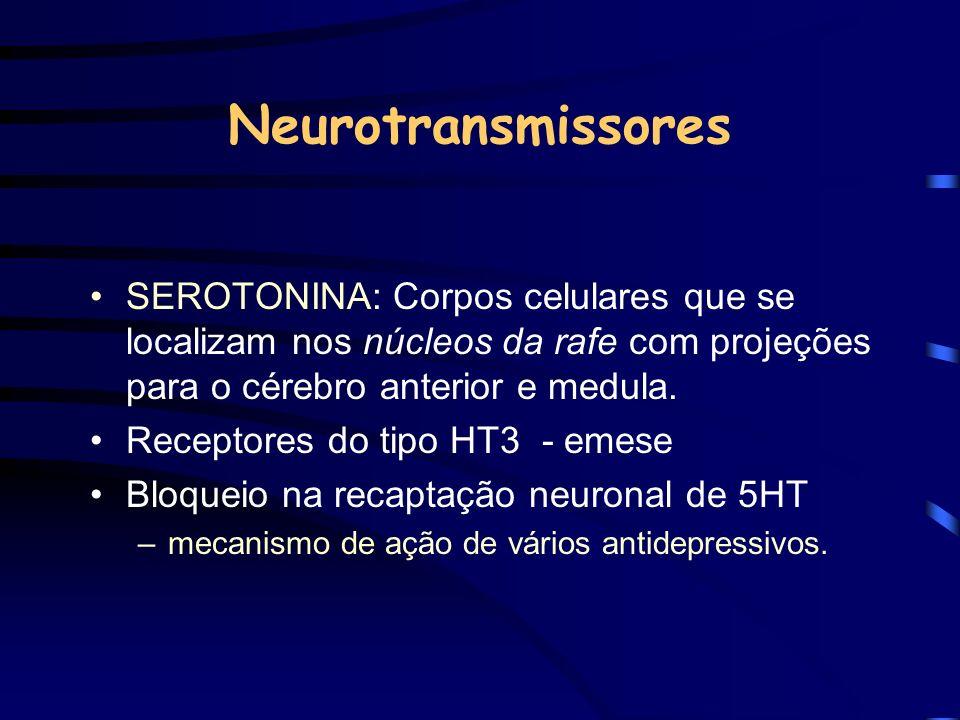 Neurotransmissores SEROTONINA: Corpos celulares que se localizam nos núcleos da rafe com projeções para o cérebro anterior e medula. Receptores do tip