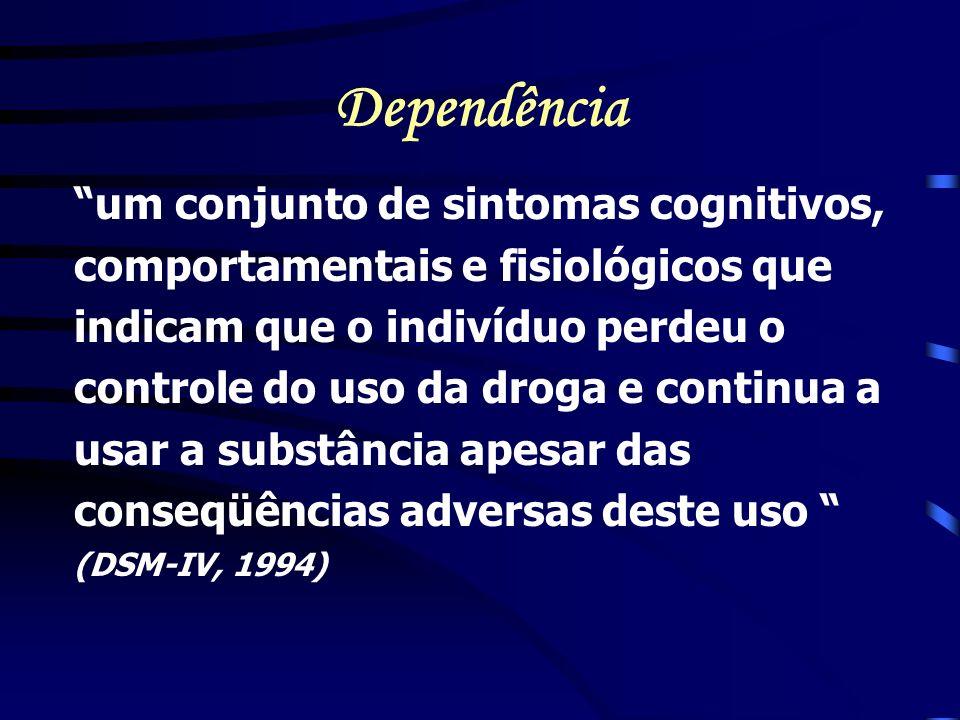 Dependência um conjunto de sintomas cognitivos, comportamentais e fisiológicos que indicam que o indivíduo perdeu o controle do uso da droga e continu