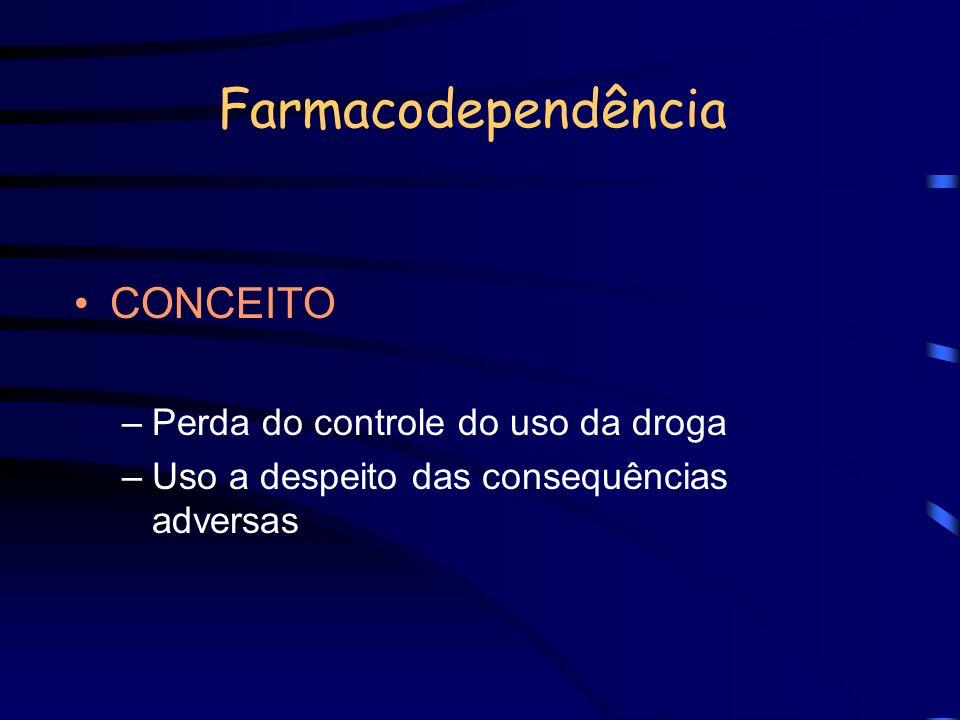 Farmacodependência CONCEITO –Perda do controle do uso da droga –Uso a despeito das consequências adversas