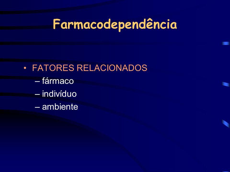 Farmacodependência FATORES RELACIONADOS –fármaco –indivíduo –ambiente