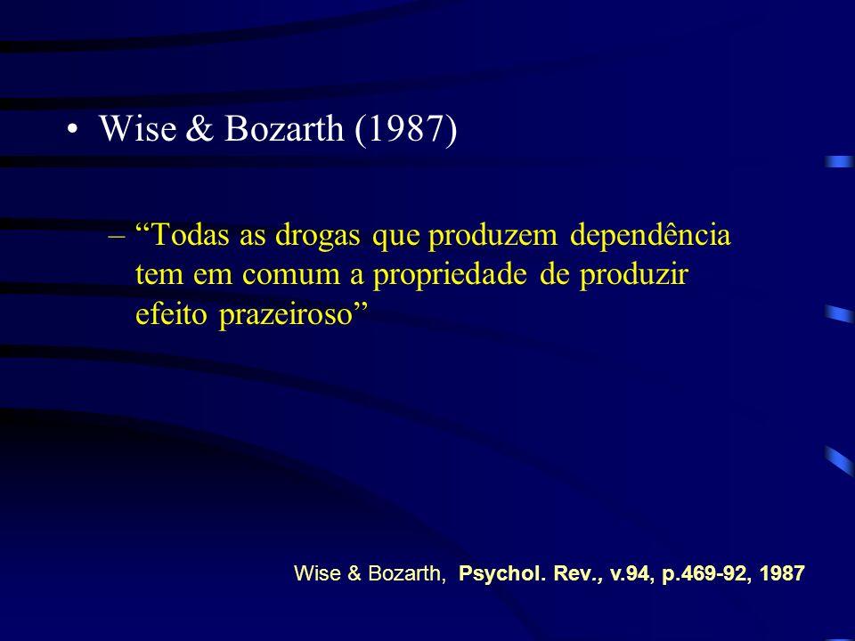 Wise & Bozarth (1987) –Todas as drogas que produzem dependência tem em comum a propriedade de produzir efeito prazeiroso Wise & Bozarth, Psychol. Rev.