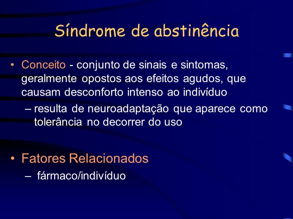 Síndrome de abstinência Conceito - conjunto de sinais e sintomas, geralmente opostos aos efeitos agudos, que causam desconforto intenso ao indivíduo –