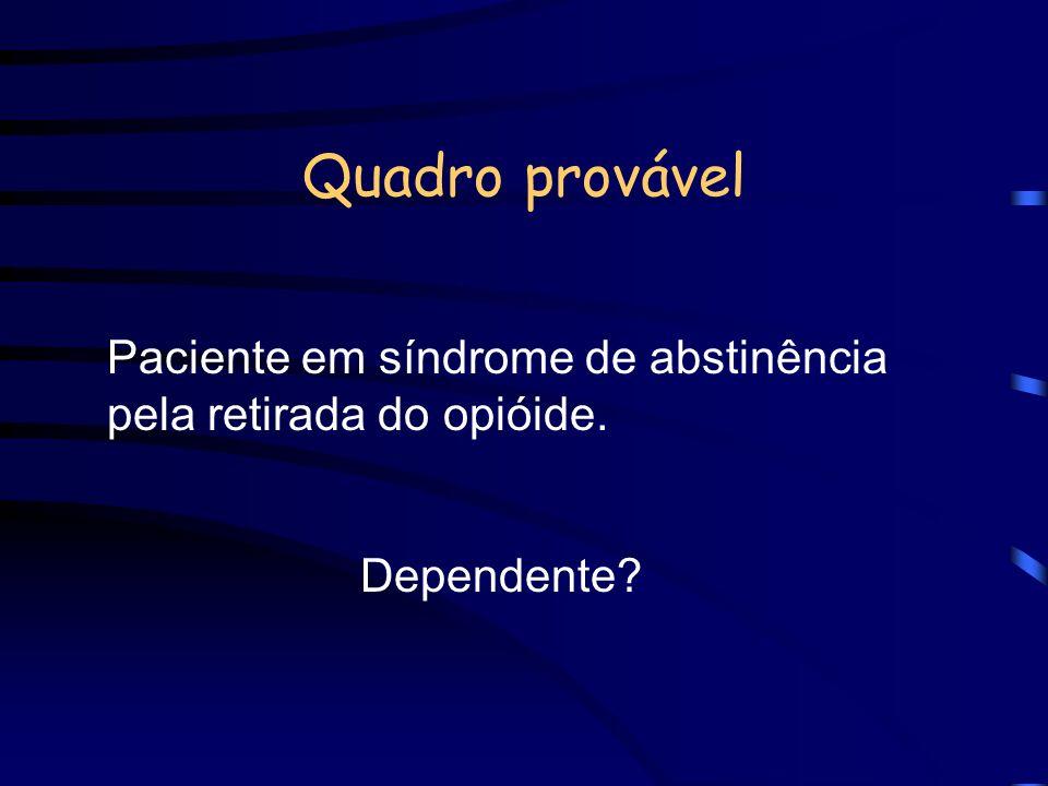 Quadro provável Paciente em síndrome de abstinência pela retirada do opióide. Dependente?