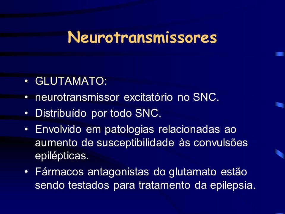 Neurotransmissores GLUTAMATO: neurotransmissor excitatório no SNC. Distribuído por todo SNC. Envolvido em patologias relacionadas ao aumento de suscep