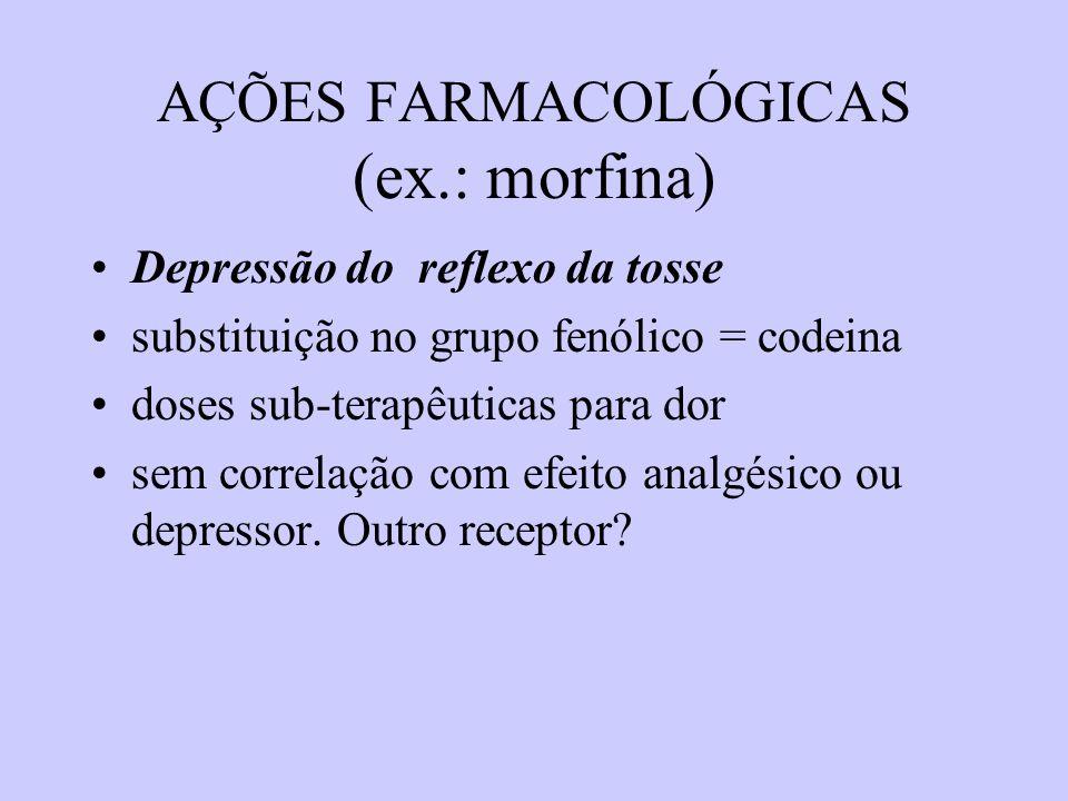 AÇÕES FARMACOLÓGICAS (ex.: morfina) Depressão do reflexo da tosse substituição no grupo fenólico = codeina doses sub-terapêuticas para dor sem correla
