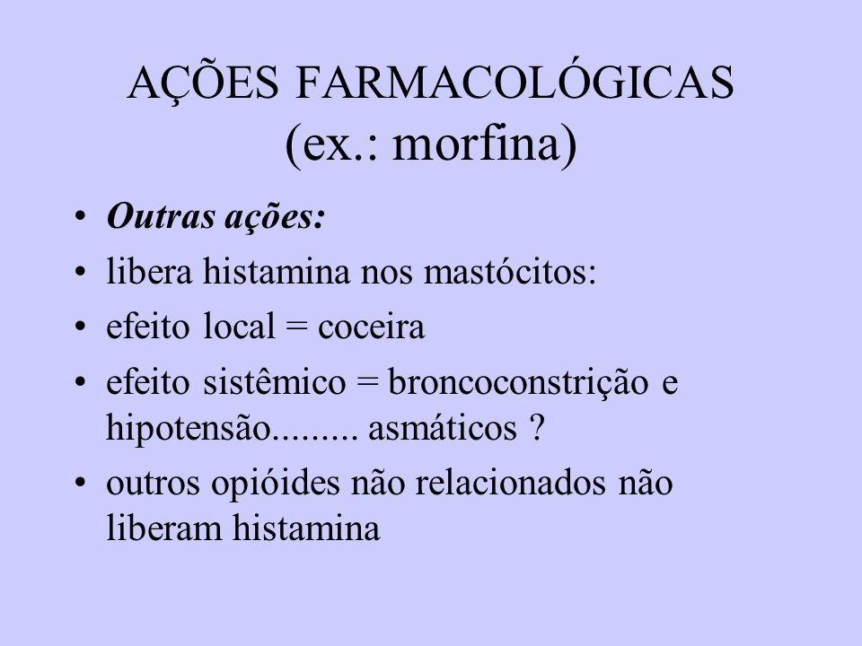AÇÕES FARMACOLÓGICAS (ex.: morfina) Outras ações: libera histamina nos mastócitos: efeito local = coceira efeito sistêmico = broncoconstrição e hipote
