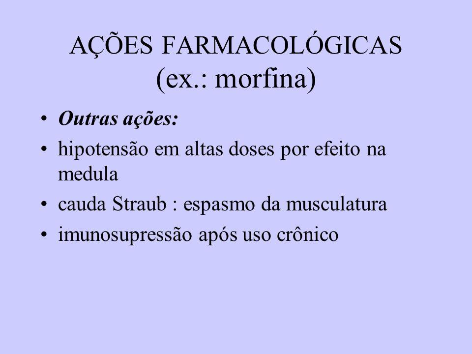 AÇÕES FARMACOLÓGICAS (ex.: morfina) Outras ações: hipotensão em altas doses por efeito na medula cauda Straub : espasmo da musculatura imunosupressão