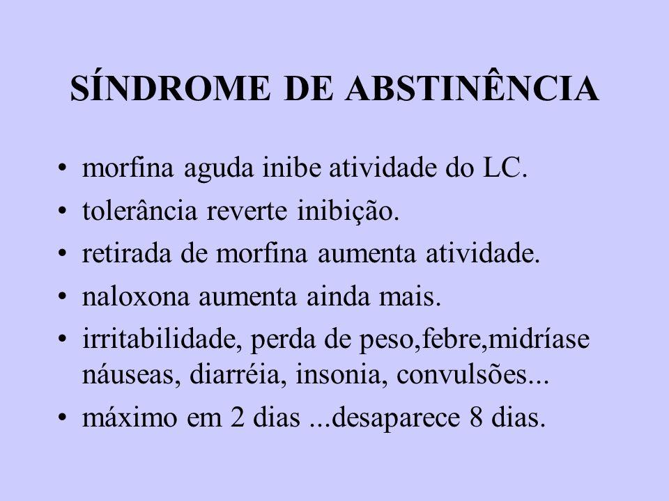 SÍNDROME DE ABSTINÊNCIA morfina aguda inibe atividade do LC. tolerância reverte inibição. retirada de morfina aumenta atividade. naloxona aumenta aind