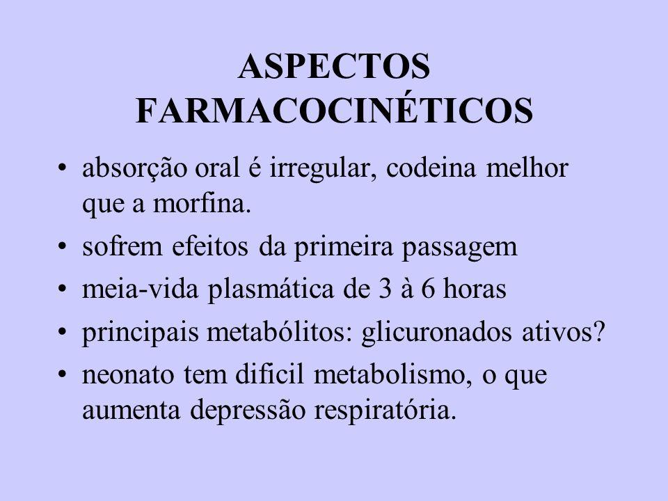 ASPECTOS FARMACOCINÉTICOS absorção oral é irregular, codeina melhor que a morfina. sofrem efeitos da primeira passagem meia-vida plasmática de 3 à 6 h