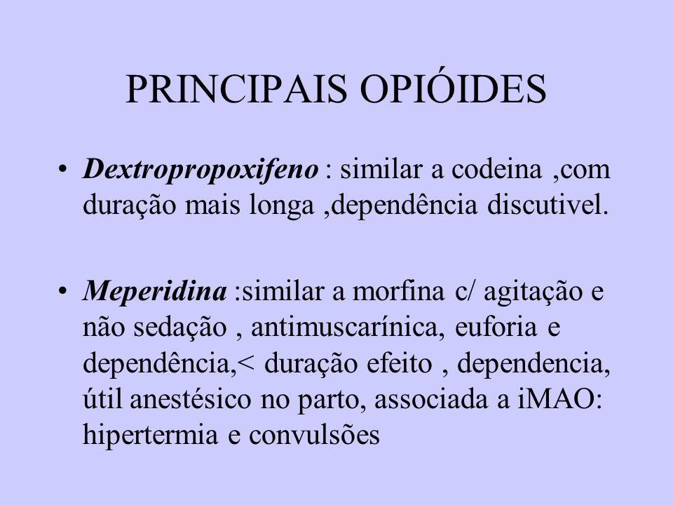 PRINCIPAIS OPIÓIDES Dextropropoxifeno : similar a codeina,com duração mais longa,dependência discutivel. Meperidina :similar a morfina c/ agitação e n