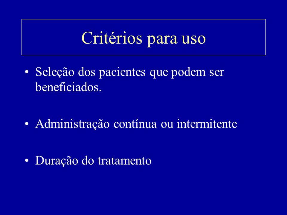 Critérios para uso Seleção dos pacientes que podem ser beneficiados. Administração contínua ou intermitente Duração do tratamento