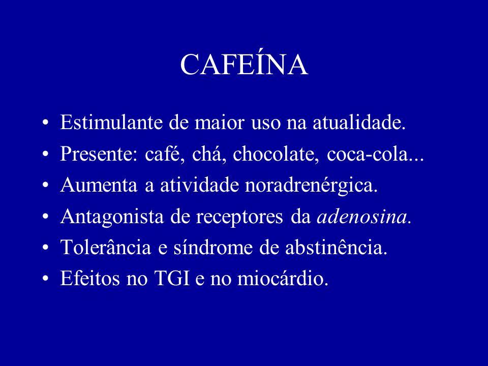 CAFEÍNA Estimulante de maior uso na atualidade. Presente: café, chá, chocolate, coca-cola... Aumenta a atividade noradrenérgica. Antagonista de recept