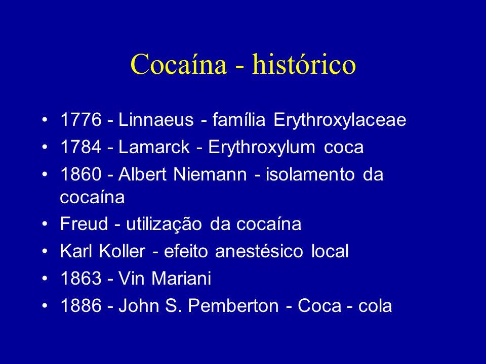 Cocaína - histórico 1776 - Linnaeus - família Erythroxylaceae 1784 - Lamarck - Erythroxylum coca 1860 - Albert Niemann - isolamento da cocaína Freud -