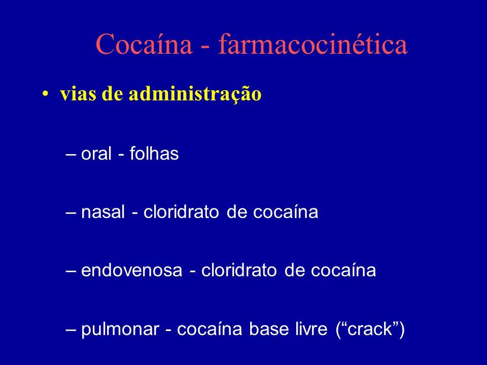 Cocaína - farmacocinética vias de administração –oral - folhas –nasal - cloridrato de cocaína –endovenosa - cloridrato de cocaína –pulmonar - cocaína