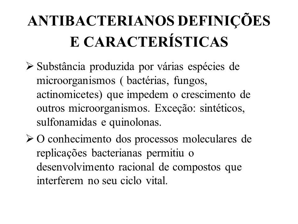 MECANISMO DE AÇÃO Inibem síntese da parede celular (bacteriostáticos): penicilinas, cefalosporinas, cicloserina, bacitracina, vancomicina (bacteriostáticos).